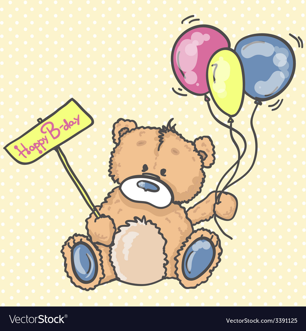 Cute teddy bear with the colorful balloons vector | Price: 1 Credit (USD $1)