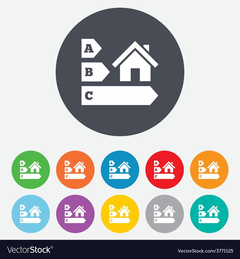 Energy efficiency icon house building symbol vector | Price: 1 Credit (USD $1)