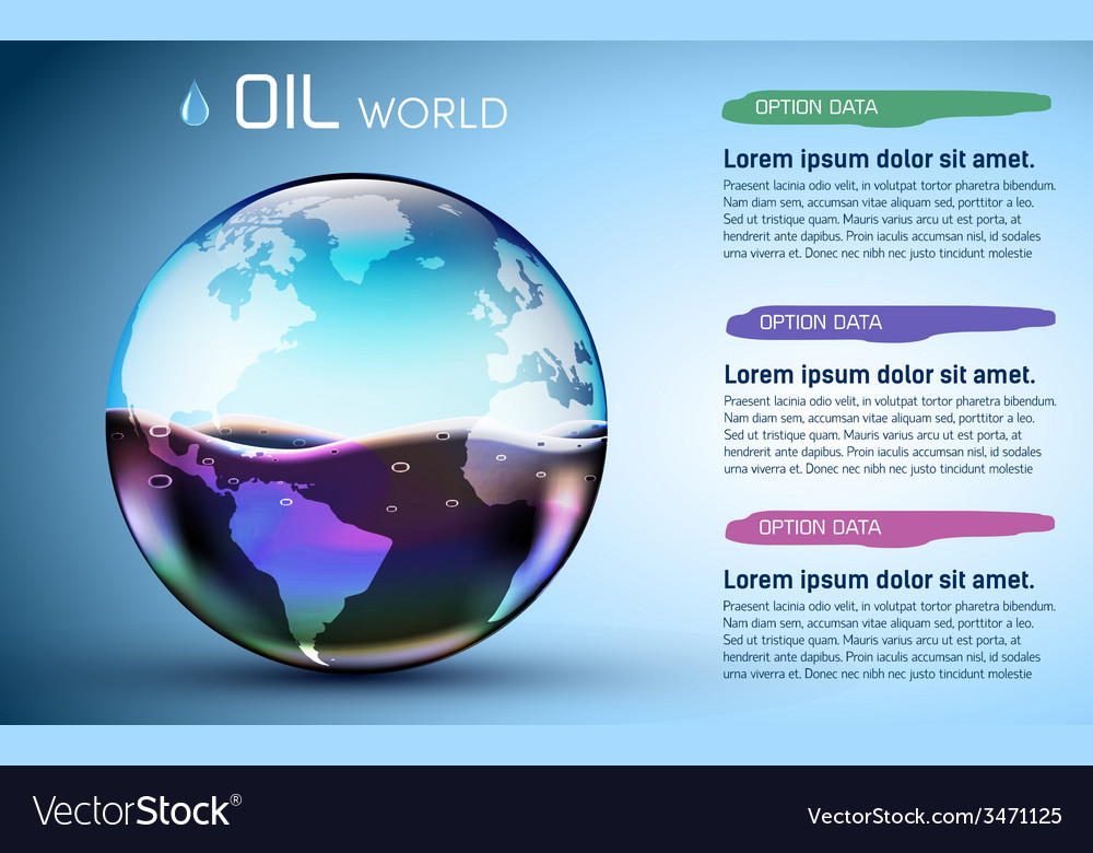 Glasses world oil stock background concept vector | Price: 1 Credit (USD $1)
