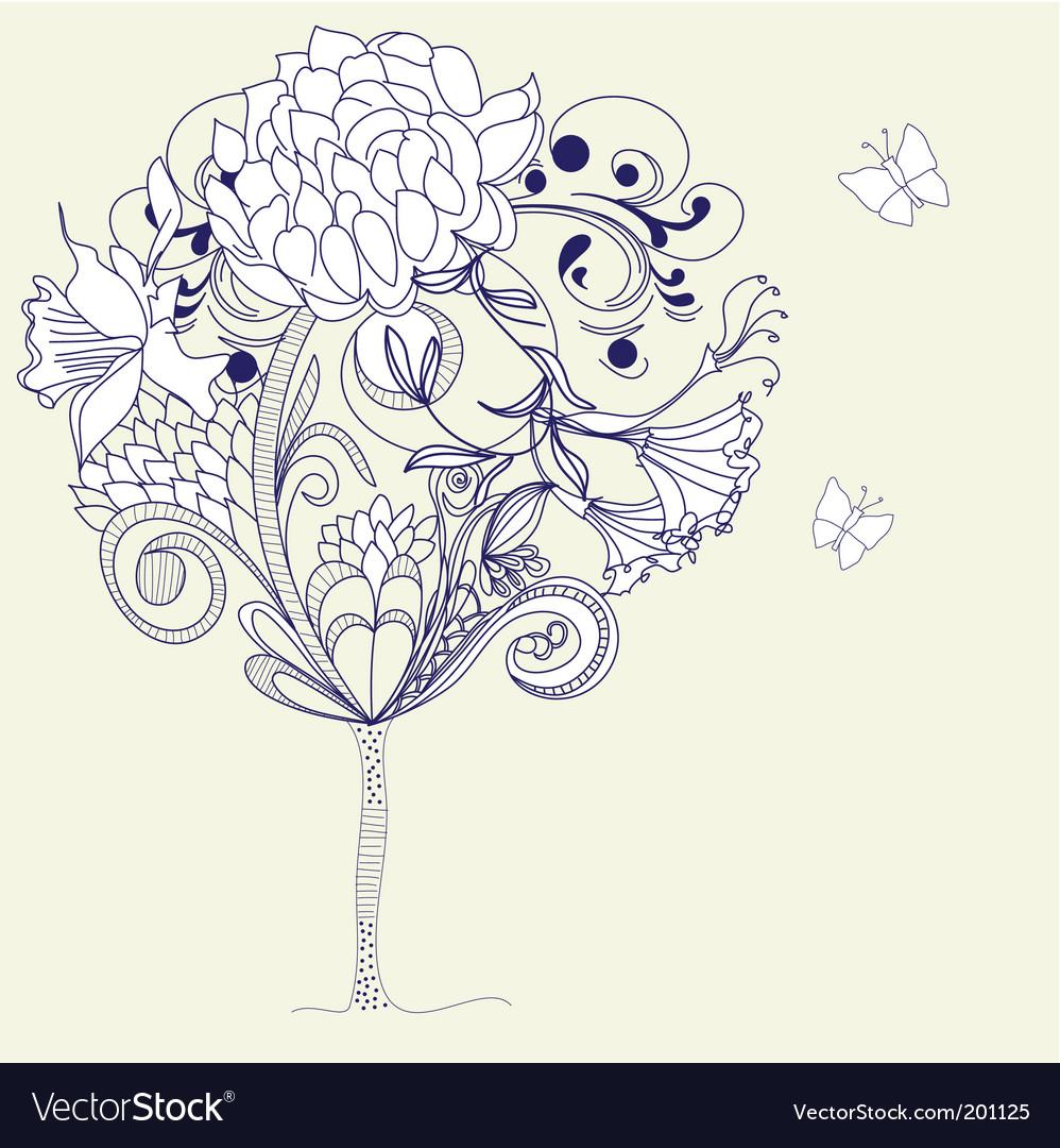 Hand drawn tree sketch vector | Price: 1 Credit (USD $1)