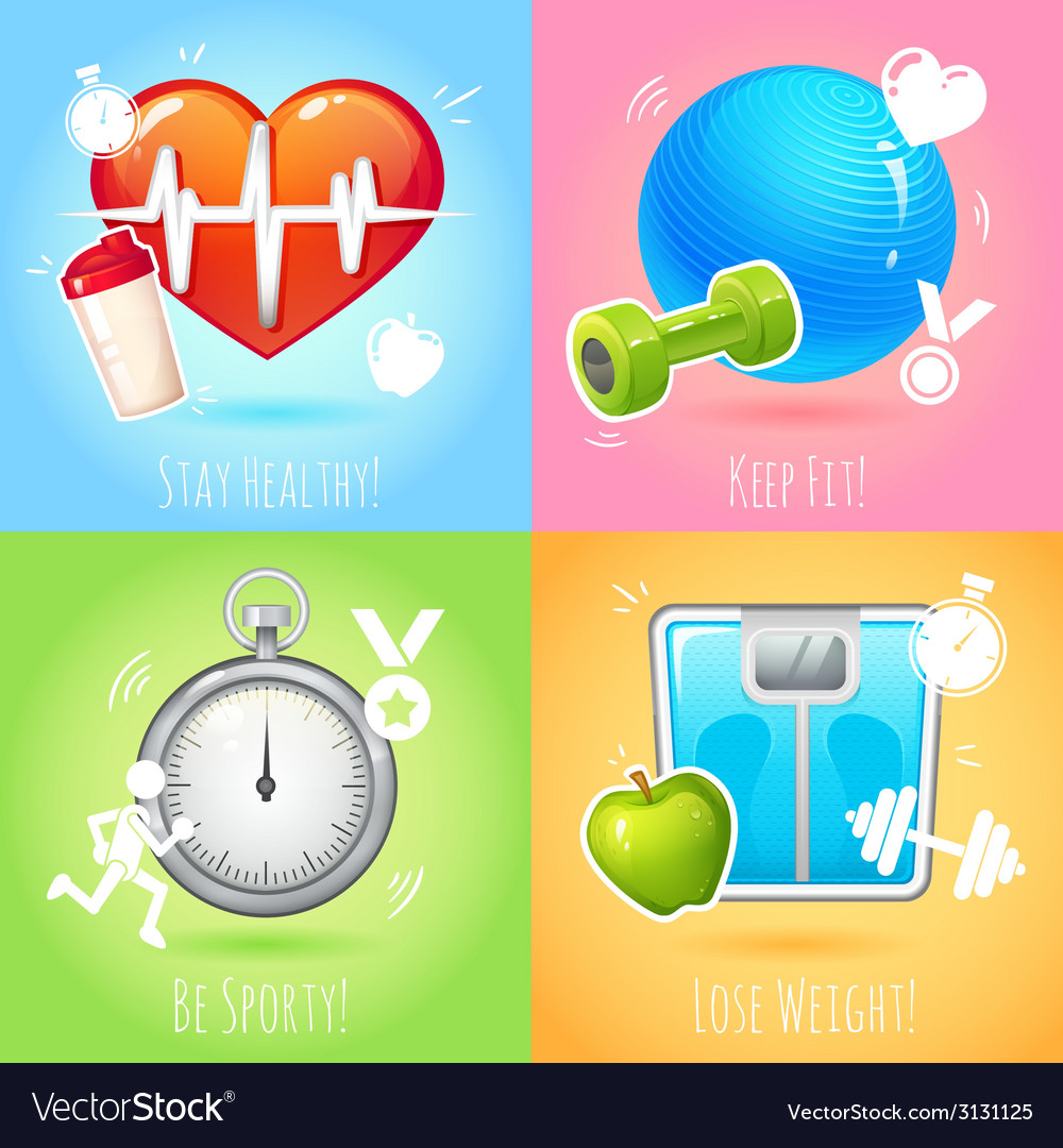 Healthy lifestyle set vector | Price: 1 Credit (USD $1)