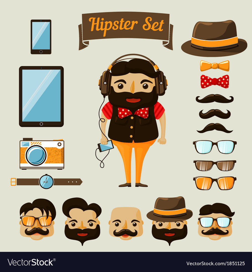 Hipster character elements for nerd boy vector | Price: 1 Credit (USD $1)