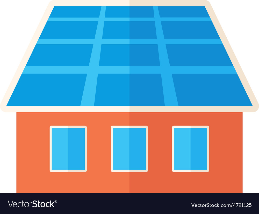 House with solar panels vector | Price: 1 Credit (USD $1)