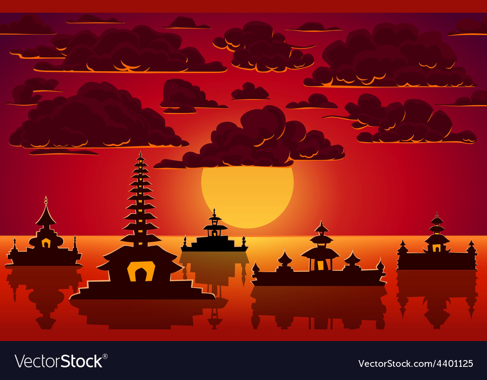 Landscape with indonesian temples in sunset vector | Price: 1 Credit (USD $1)