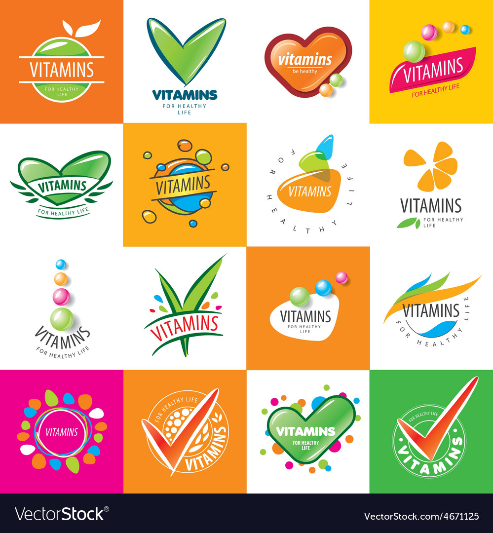 Large set of logos vitamins vector | Price: 3 Credit (USD $3)