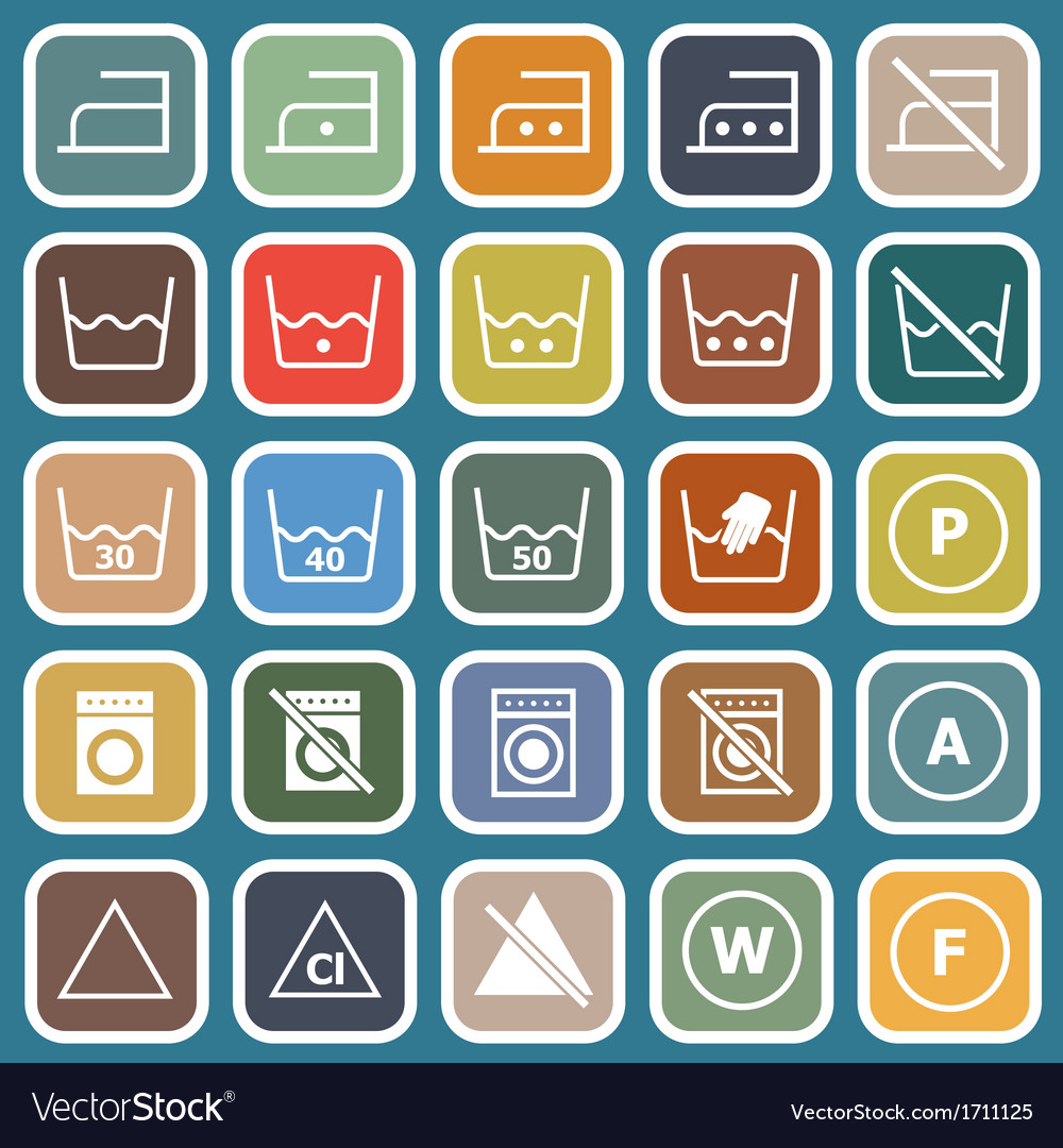 Laundry flat icons on blue background vector | Price: 1 Credit (USD $1)