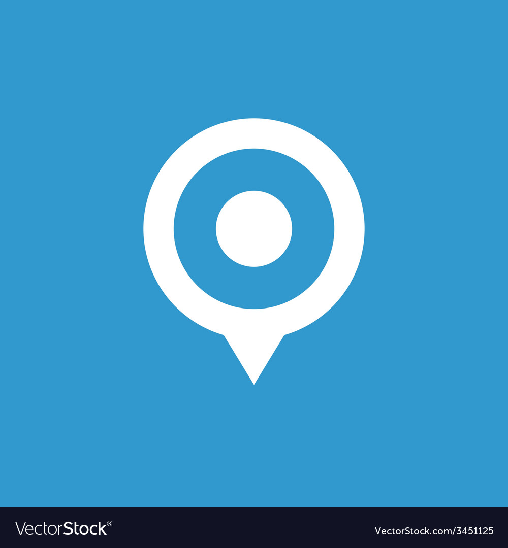 Map pin icon white on the blue background vector   Price: 1 Credit (USD $1)