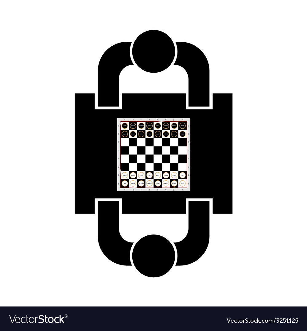 Play chess icon with two man vector | Price: 1 Credit (USD $1)