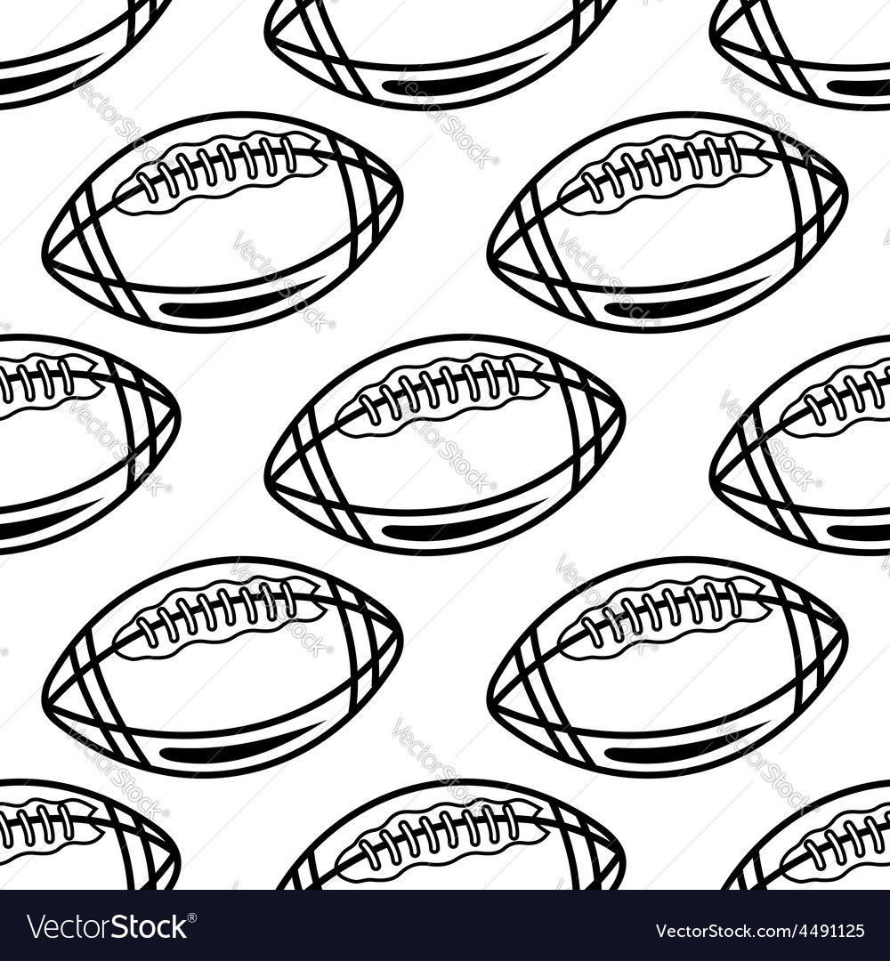 Seamless pattern with outline rugby balls vector | Price: 1 Credit (USD $1)
