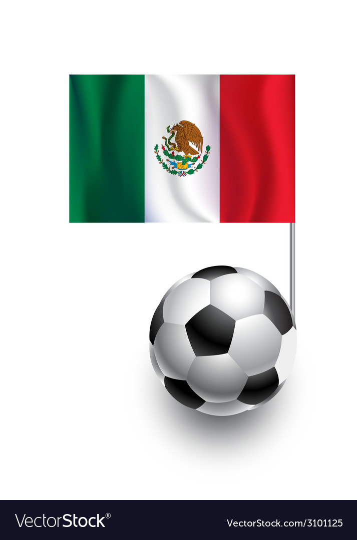 Soccer balls or footballs with flag of mexico vector | Price: 1 Credit (USD $1)