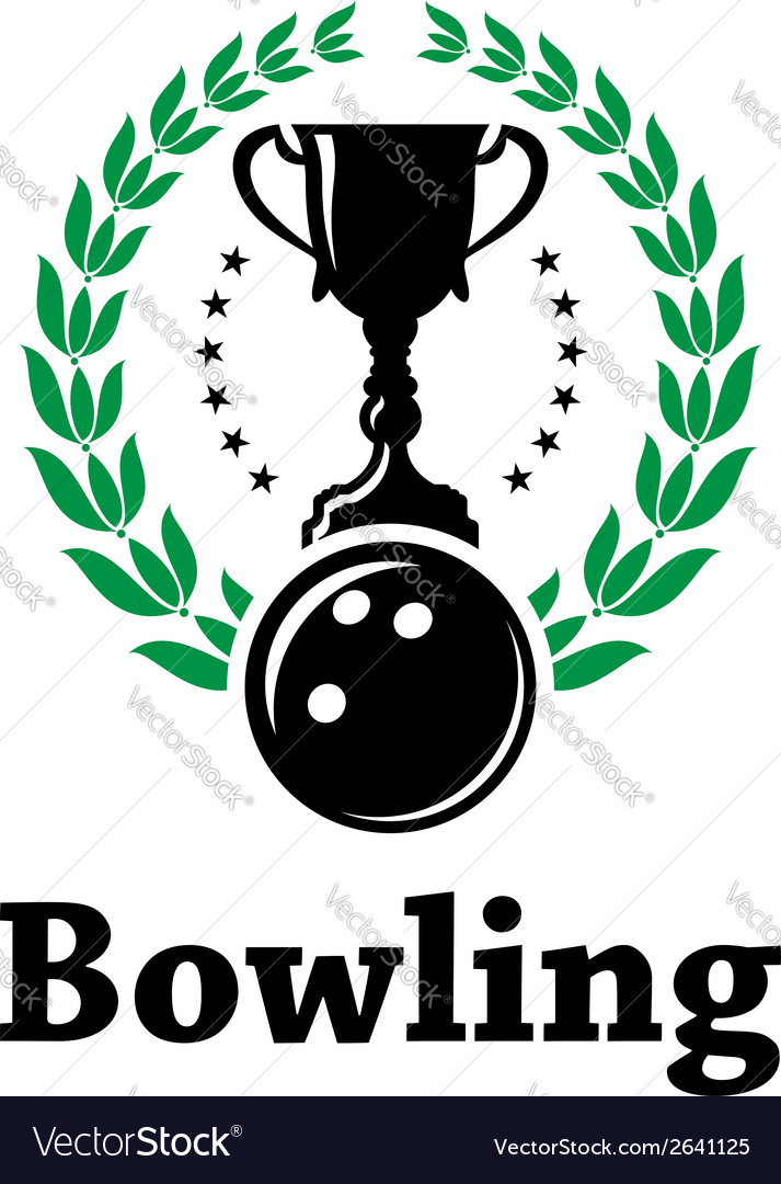 Sport bowling league label with laurel wreath vector | Price: 1 Credit (USD $1)