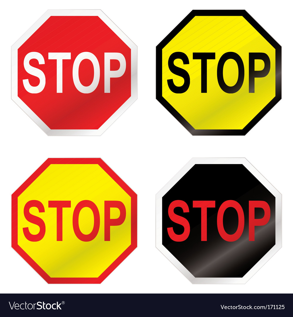 Stop road sign variation vector | Price: 1 Credit (USD $1)