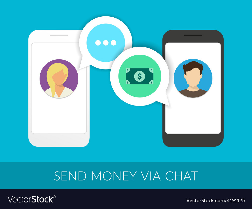 Transferring money via chat vector | Price: 1 Credit (USD $1)