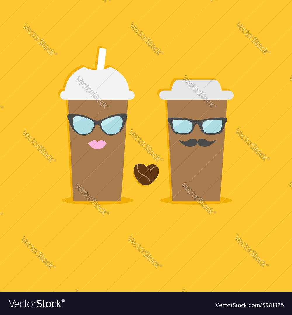 Two disposable coffee paper cups bean heart vector | Price: 1 Credit (USD $1)