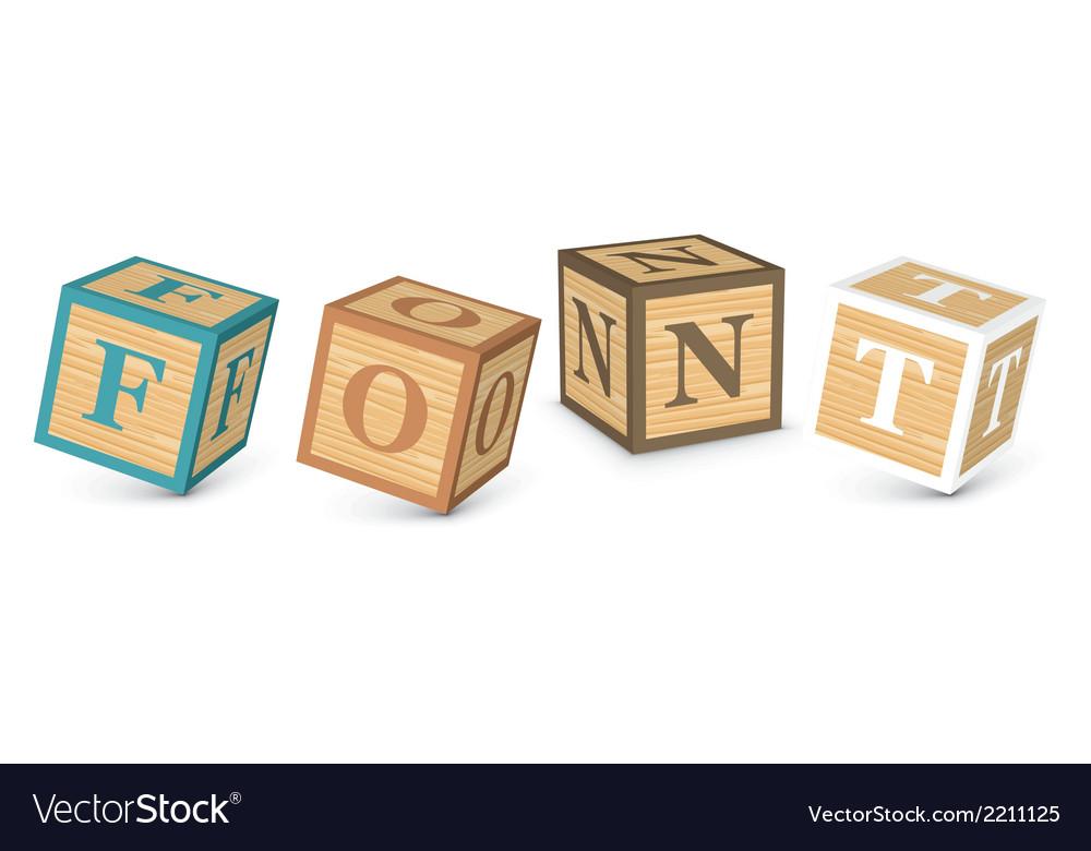 Word font written with alphabet blocks vector | Price: 1 Credit (USD $1)
