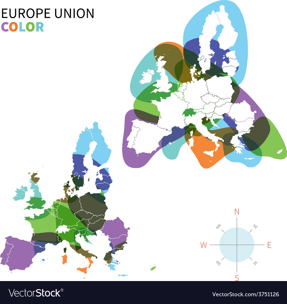 Abstract color political map of europe vector | Price: 1 Credit (USD $1)
