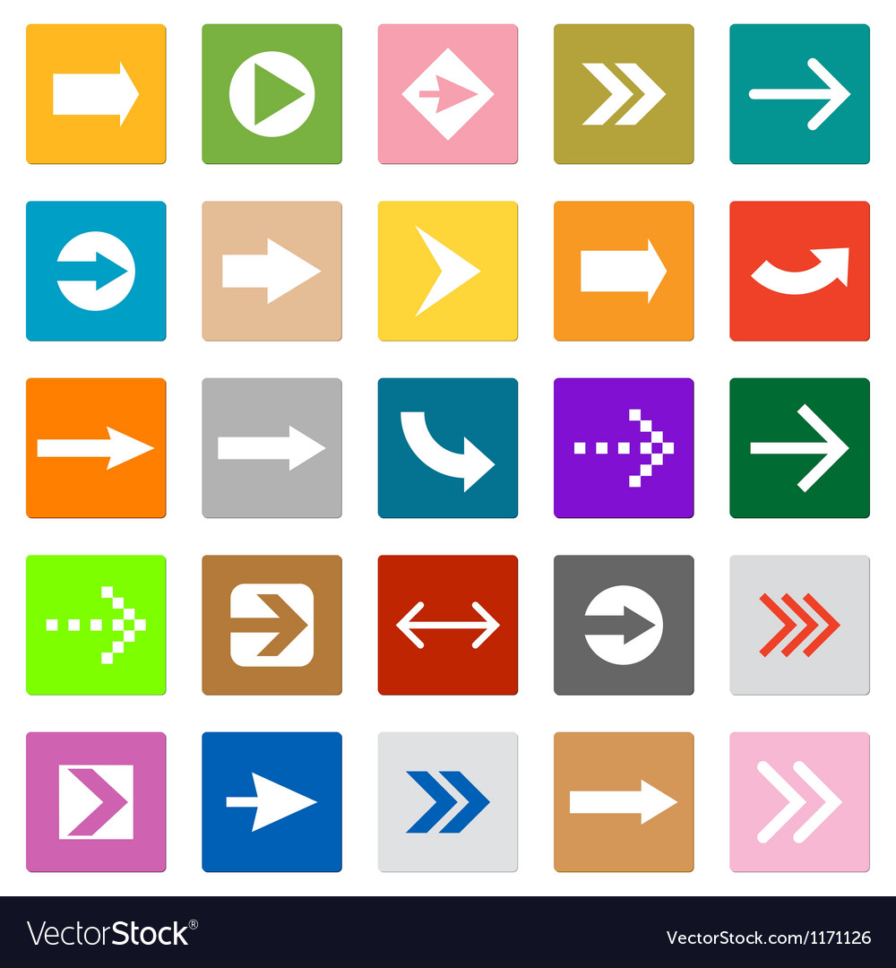 Arrow sign icon set square shape internet button vector | Price: 1 Credit (USD $1)