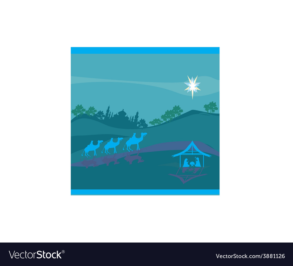 Biblical scene  birth of jesus in bethlehem vector