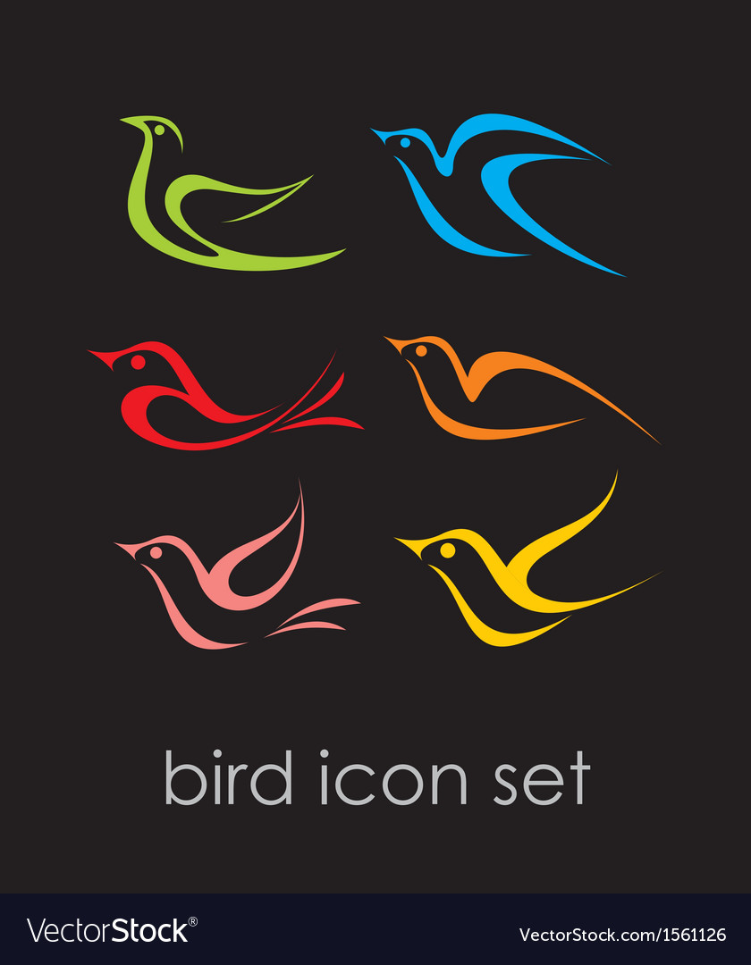 Bird icon set vector | Price: 1 Credit (USD $1)