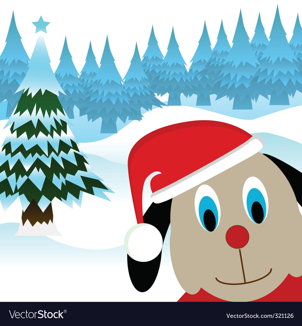 Cartoon dog with noel cap vector | Price: 1 Credit (USD $1)