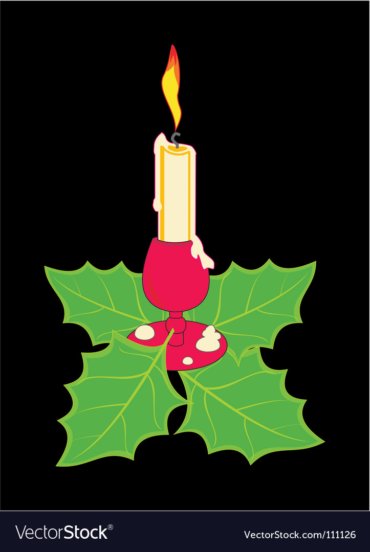 Christmas candle in a candlestick vector | Price: 1 Credit (USD $1)