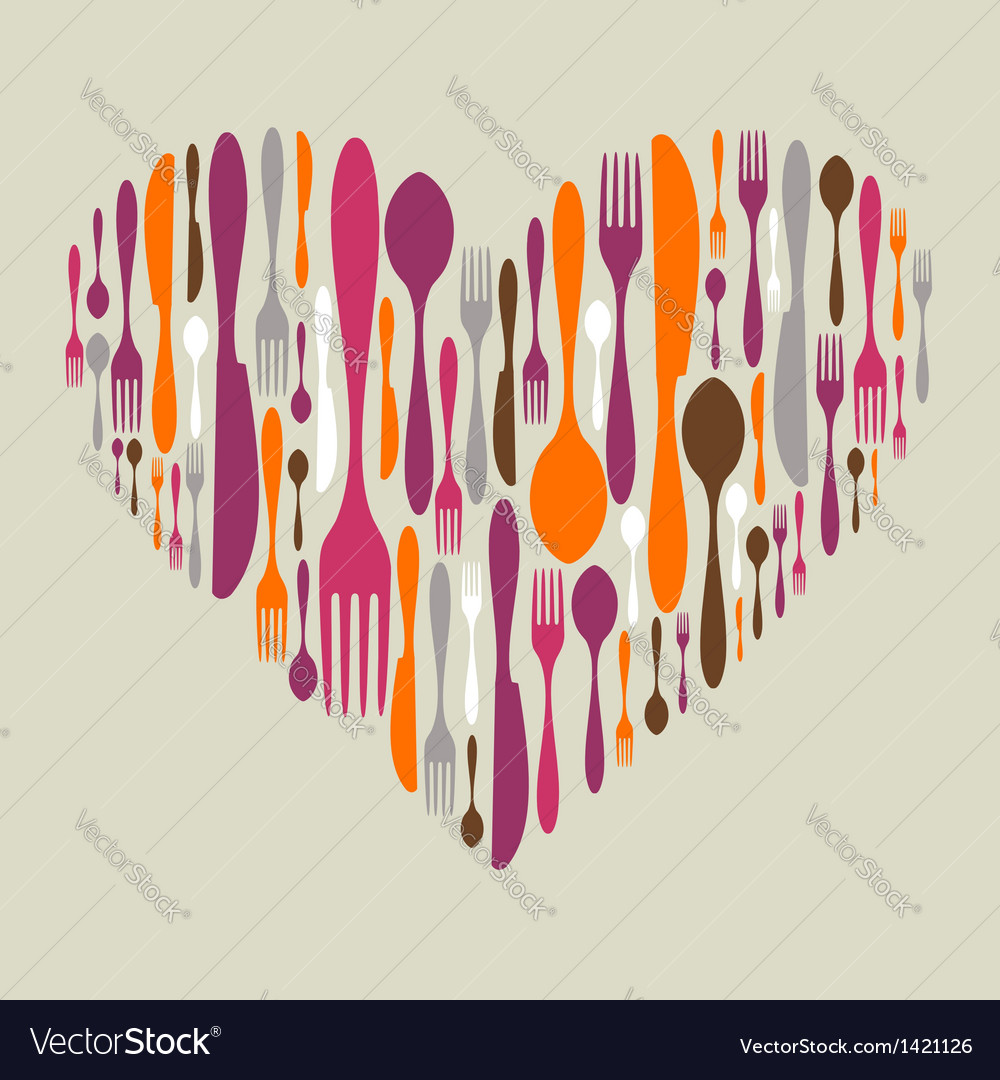 Cutlery icon set in heart shape vector | Price: 1 Credit (USD $1)