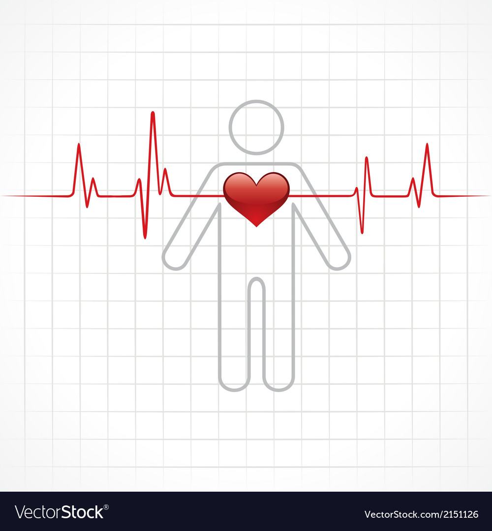 Heartbeat across in man vector