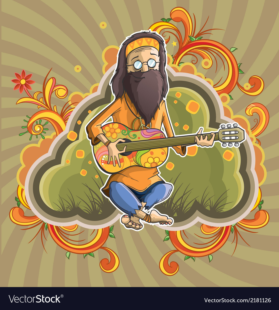 Hippie with guitar in nirvana vector | Price: 3 Credit (USD $3)