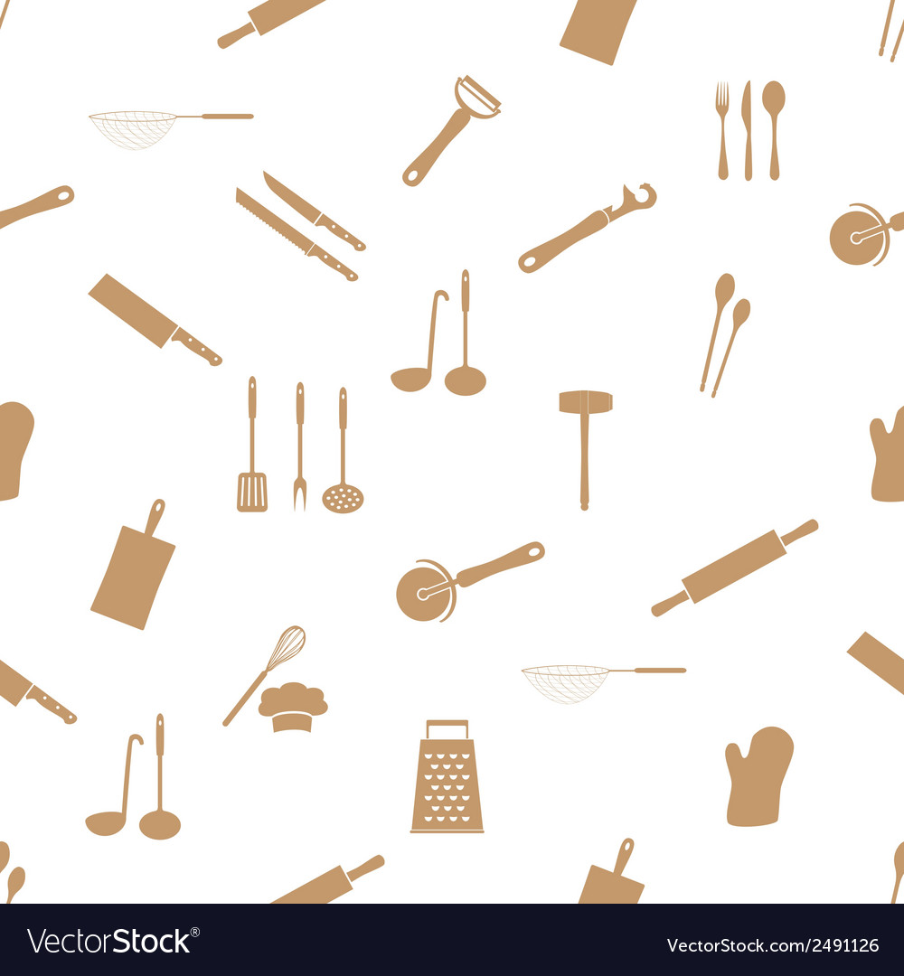 Home kitchen cooking utensils seamless pattern vector | Price: 1 Credit (USD $1)