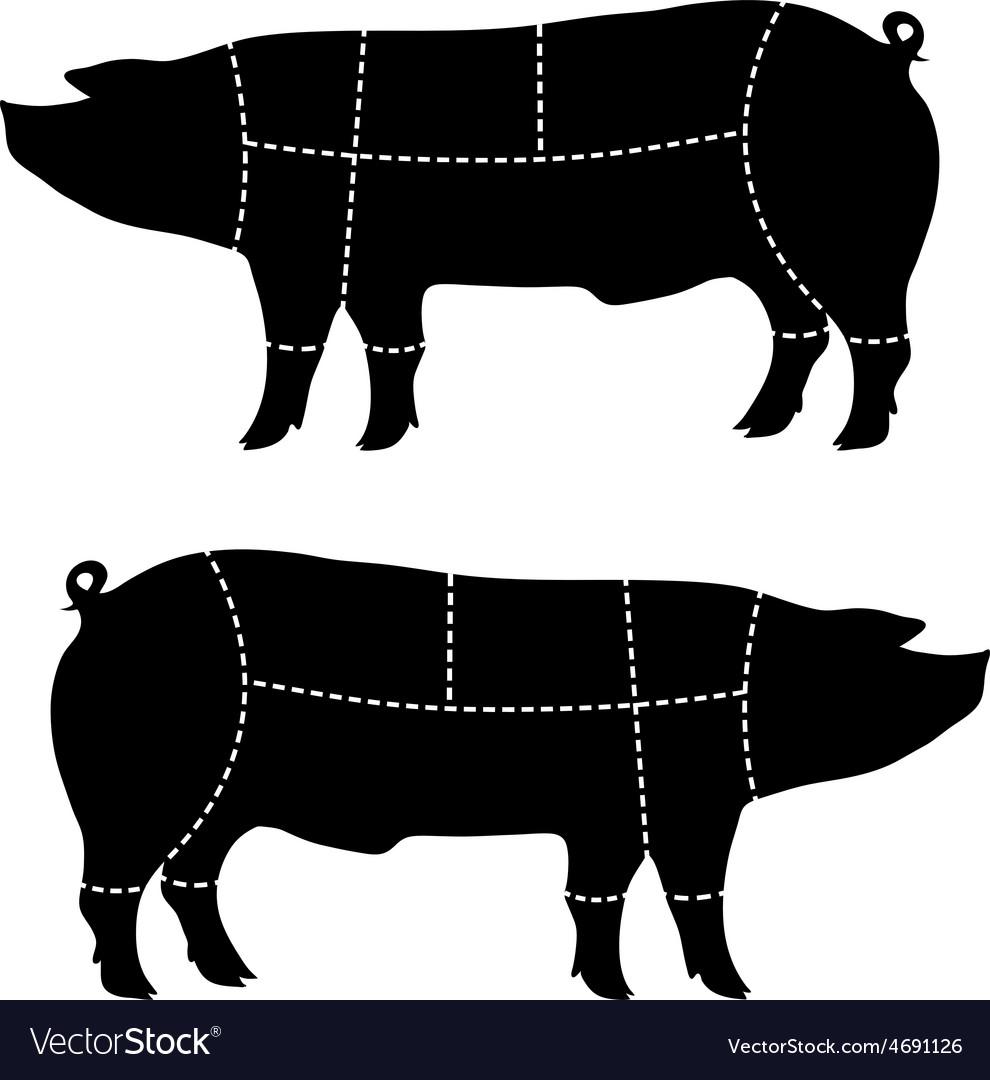 Pork-cutting scheme vector | Price: 1 Credit (USD $1)