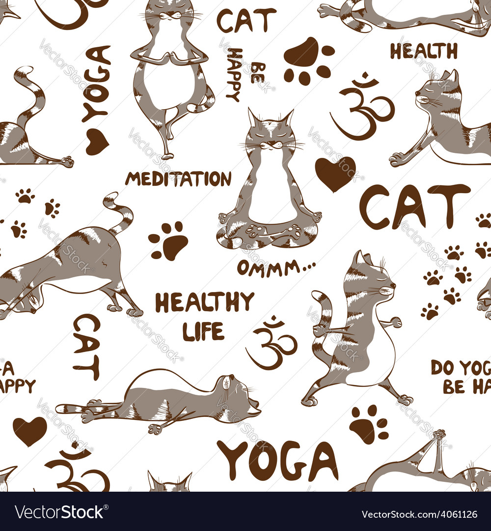 Seamless pattern with cat doing yoga position vector | Price: 1 Credit (USD $1)