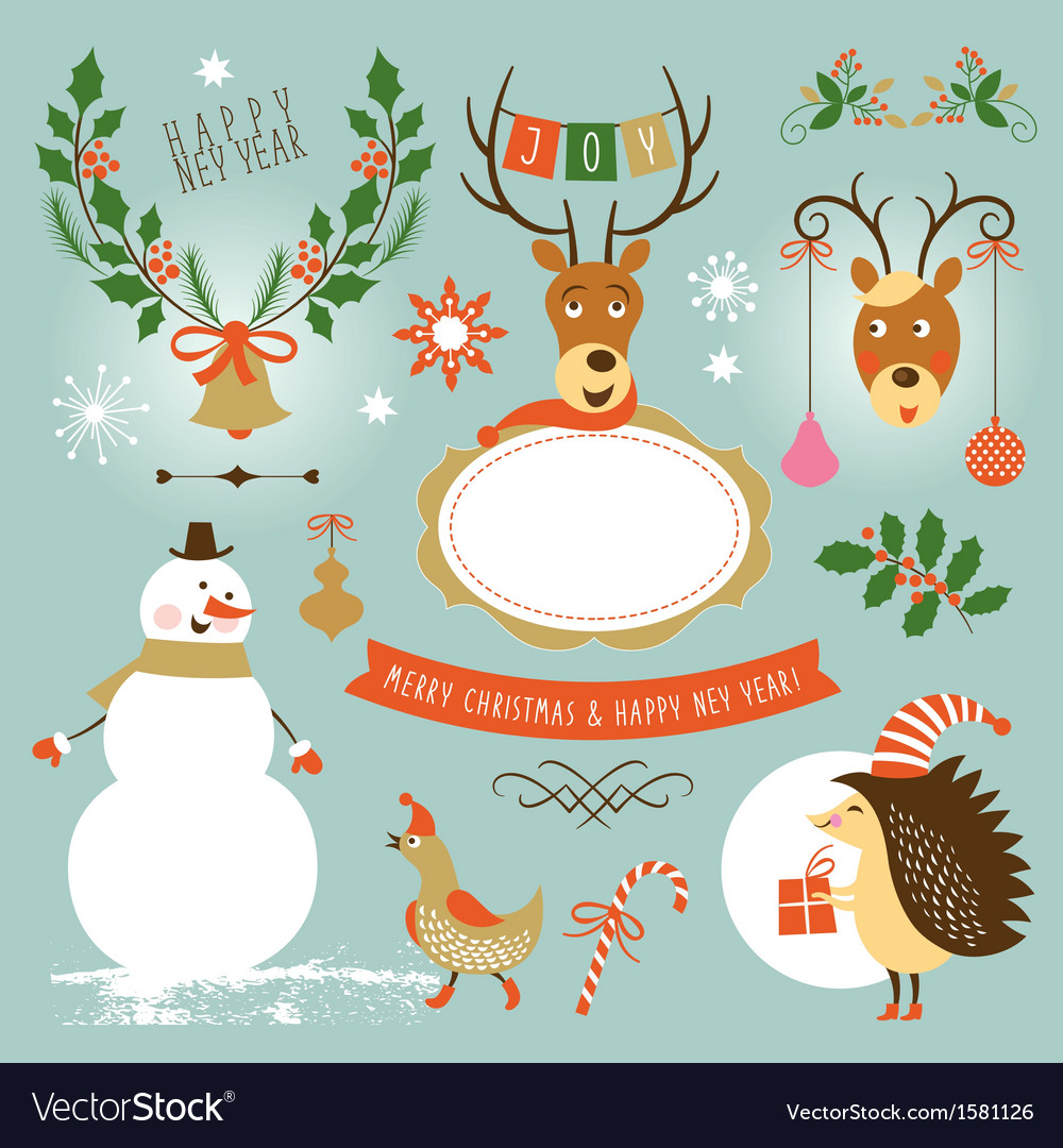 Set of christmas and new year s graphic elements vector | Price: 1 Credit (USD $1)