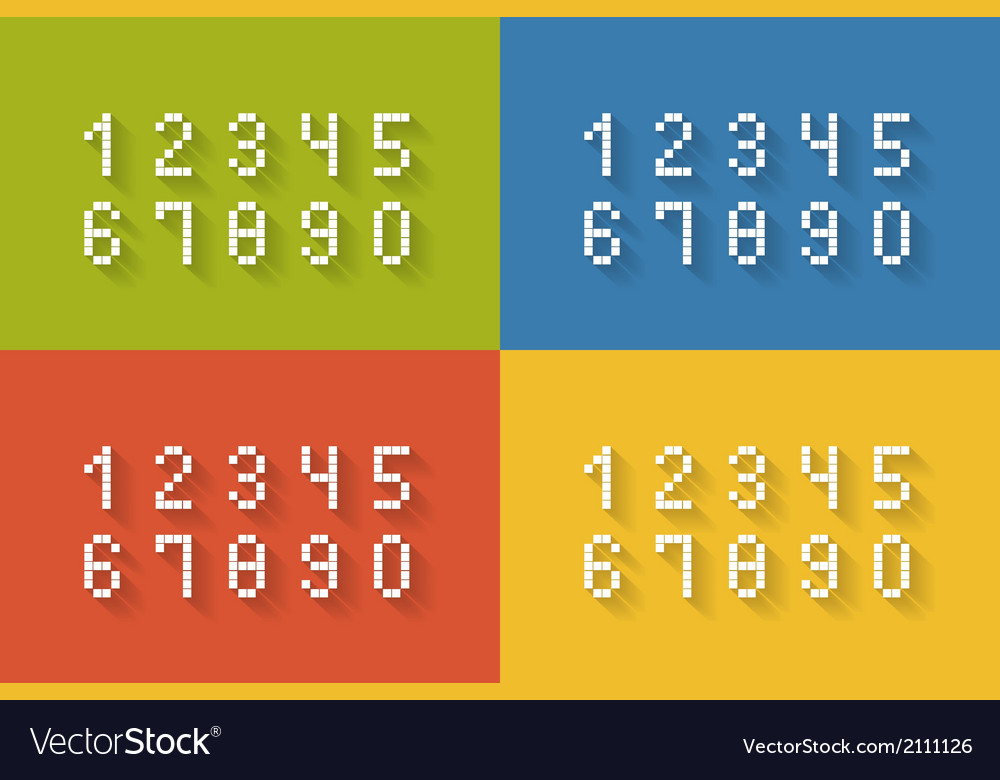 Set of flat pixel numbers vector | Price: 1 Credit (USD $1)