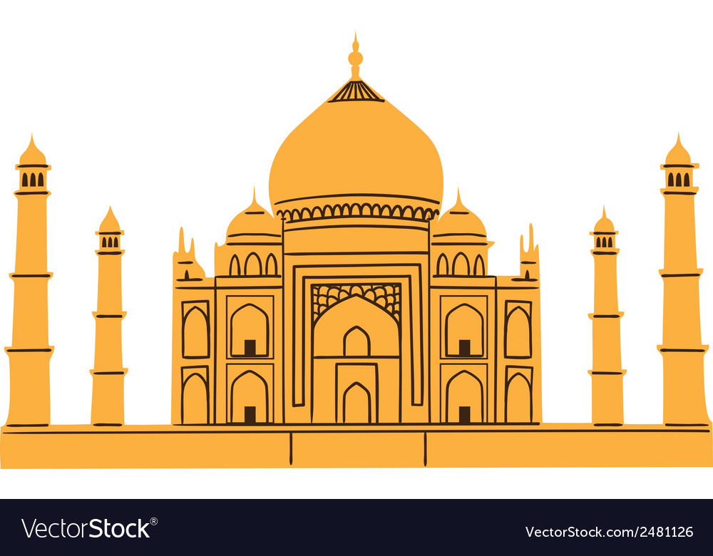 Taj mahal isolated on white vector | Price: 1 Credit (USD $1)