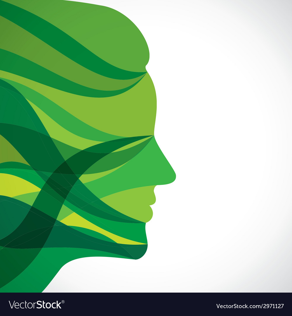Abstract green women face vector | Price: 1 Credit (USD $1)
