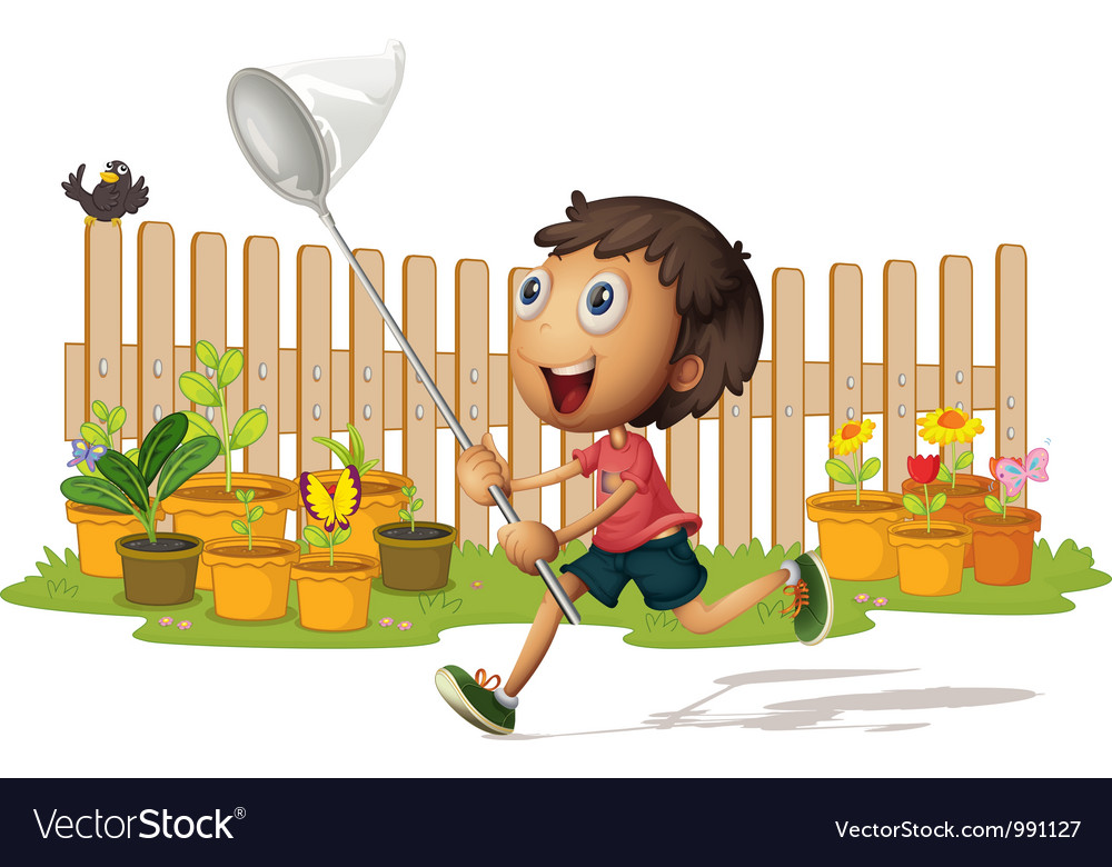 Boy catching butterflies vector | Price: 1 Credit (USD $1)