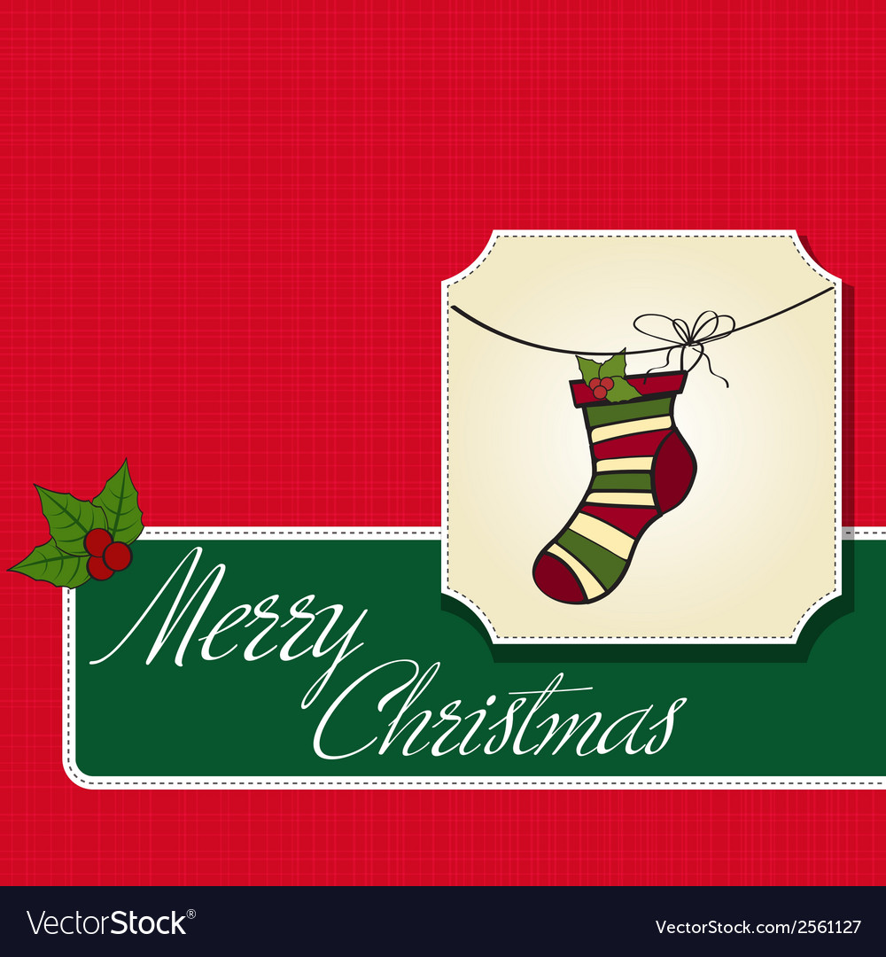 Christmas greeting card with socks vector | Price: 1 Credit (USD $1)