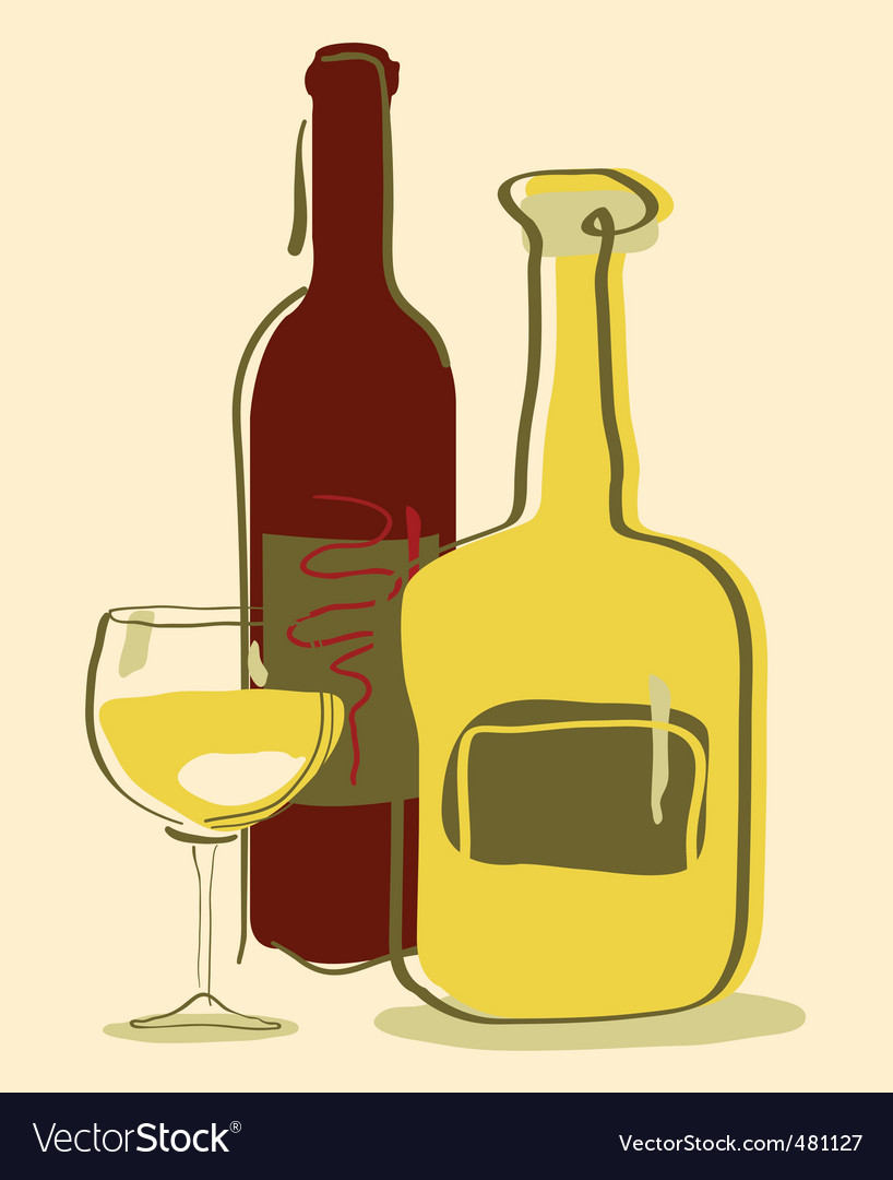 Different wine bottles and gla vector | Price: 1 Credit (USD $1)