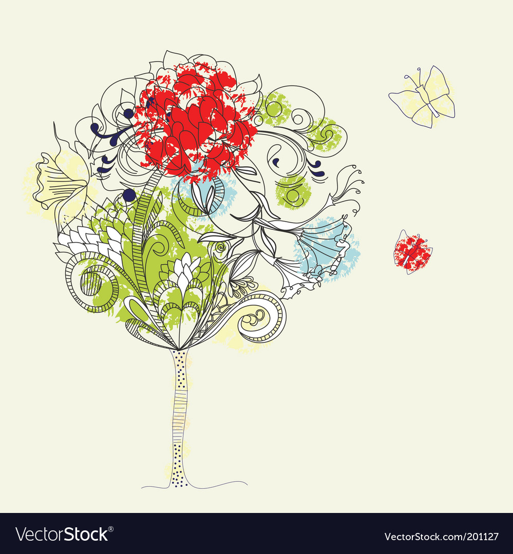 Hand drawn tree sketch vector | Price: 1 Credit (USD $1)