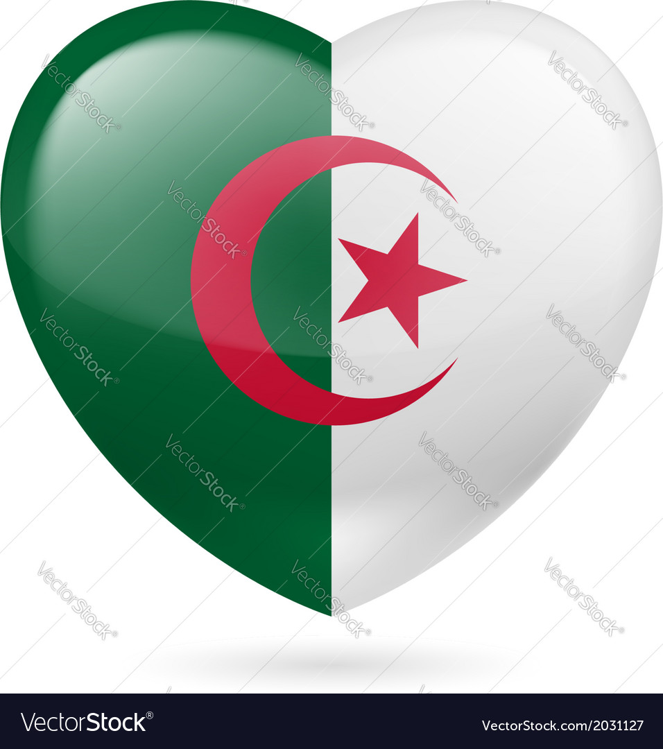 Heart icon of algeria vector | Price: 1 Credit (USD $1)