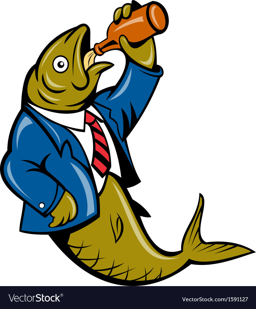 Herring fish business suit drinking beer bottle vector | Price: 1 Credit (USD $1)