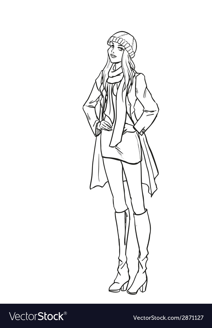 Monochromatic picture with lady in autumn clothes vector   Price: 1 Credit (USD $1)