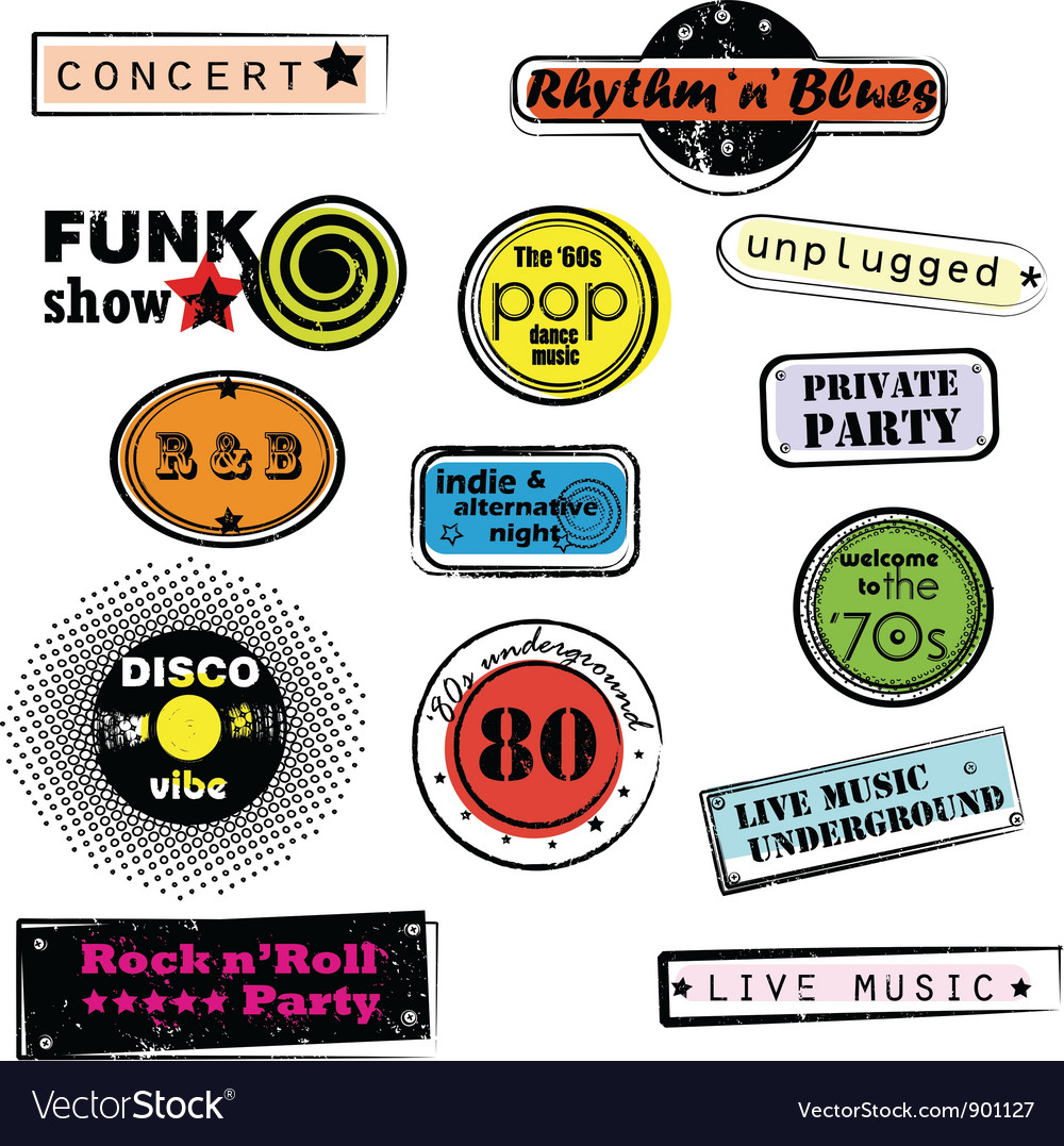 Retro music stamps vector | Price: 1 Credit (USD $1)