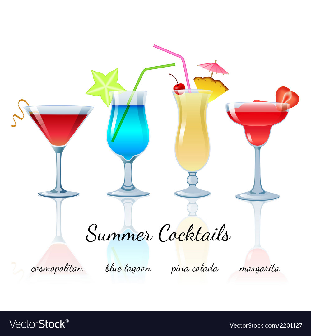 Summer cocktails set isolated vector | Price: 1 Credit (USD $1)