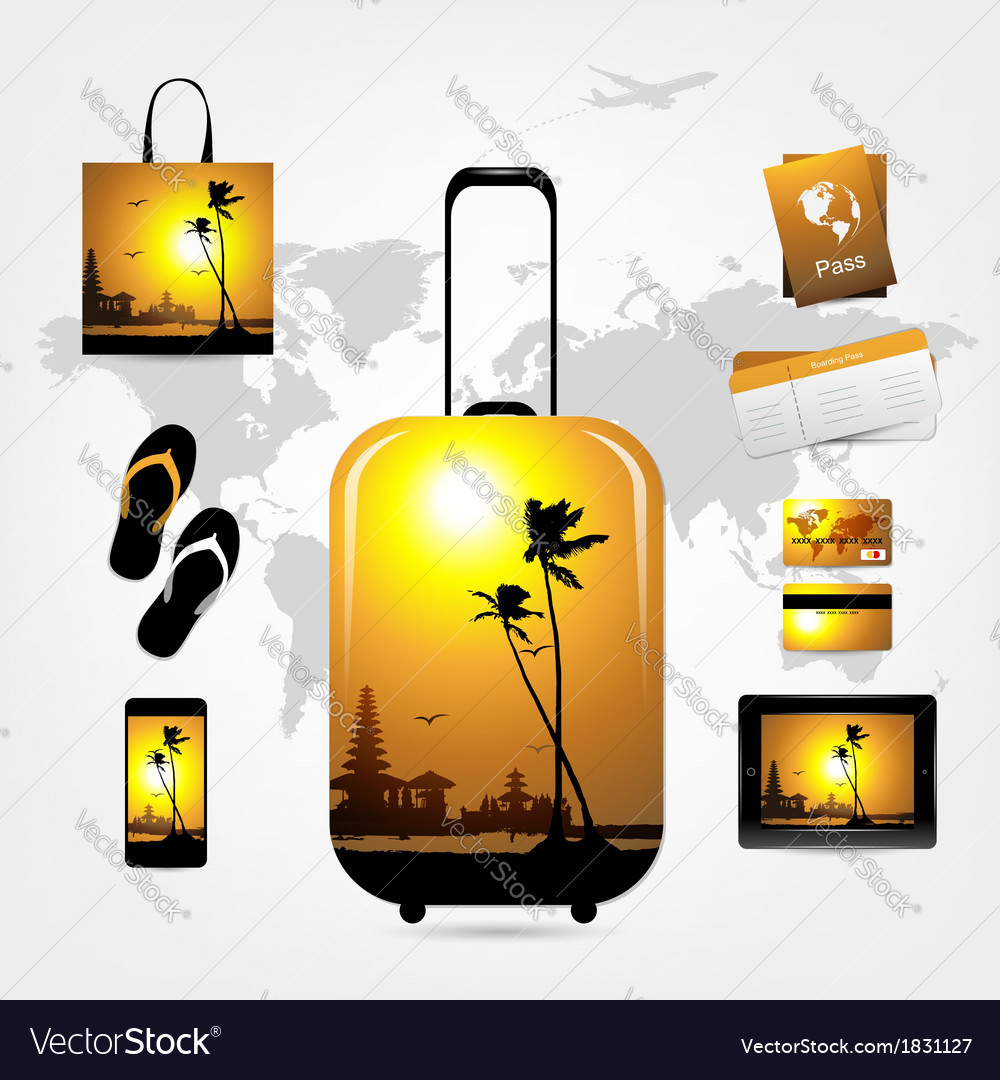 Travel suitcase with trip things tropical style vector | Price: 1 Credit (USD $1)