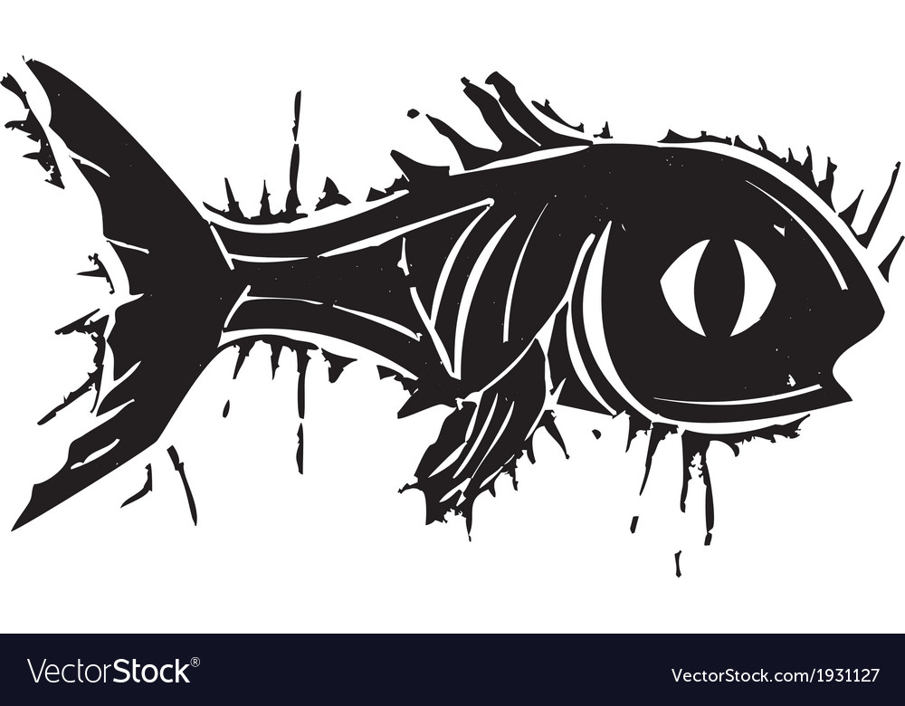 Woodblock fish vector | Price: 1 Credit (USD $1)