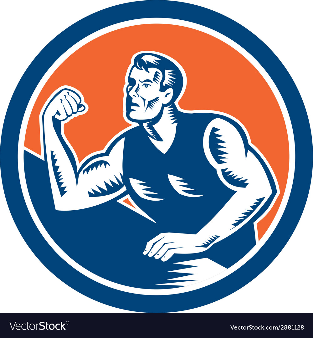 Arm wrestling champion woodcut circle vector | Price: 1 Credit (USD $1)