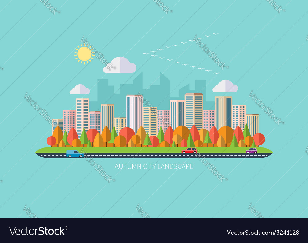 Autumn urban landscape vector | Price: 1 Credit (USD $1)