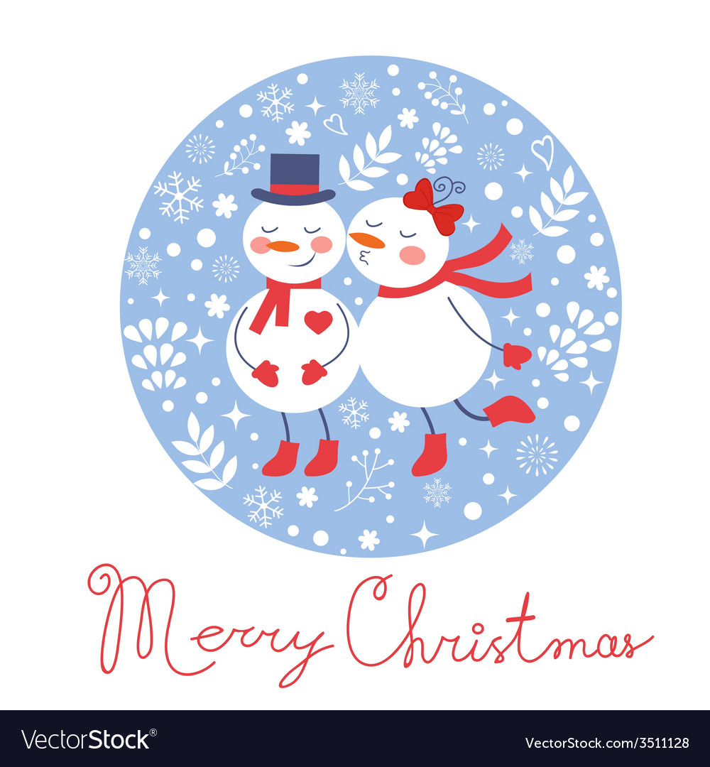 Beautiful christmas card with two frosties kissing vector | Price: 1 Credit (USD $1)