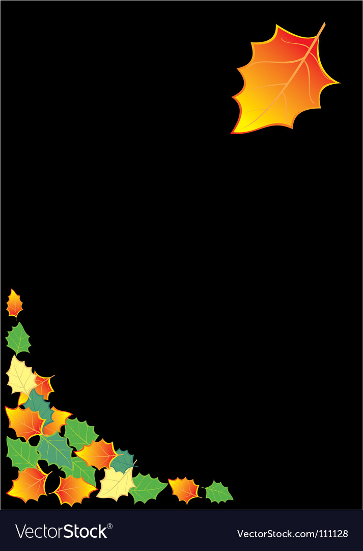 Black background with autumn leaves vector | Price: 1 Credit (USD $1)